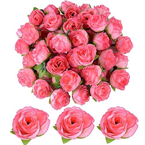 50 pz Teste di Rose Fiori Artificiali Seta Rosa Chiaro Finte Piccole per Decorazioni Matrimonio Festa (Rosa scuro)