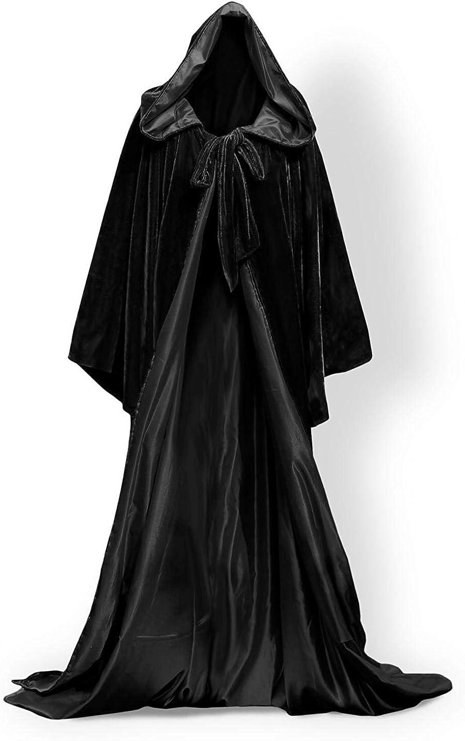 homebed Hooded Cloak Black Halloween Wizard Robe Long Sleeve for Christmas Fancy Coat