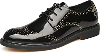 MYHYZZ-Oxfords Business Oxford for Men Formal Shoes Lace up Microfiber Leather Experienced Stitched Waxy Shoelaces