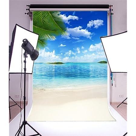 Yongfoto 1x1 5m Vinyl Foto Hintergrund Sand Strand Blue Kamera