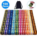 AUSTOR 100 Pieces 6 Sided Dice Set 10 x 10 Pearl Colors Square Corner Dice with a Free Velvet Pouch