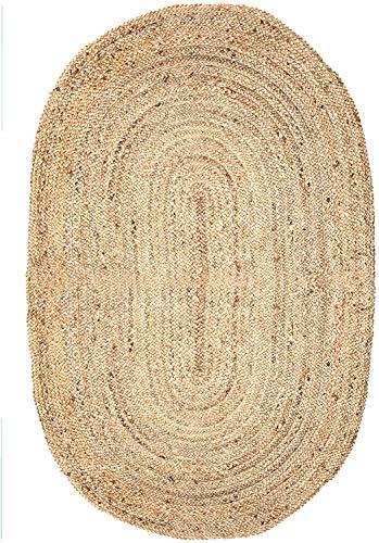 Tapis en Jute tressé - Boho Tapis de Tapis Ovale tissé à la Main pour la décoration intérieure 100% Jute Naturel - 152 x 91 cm