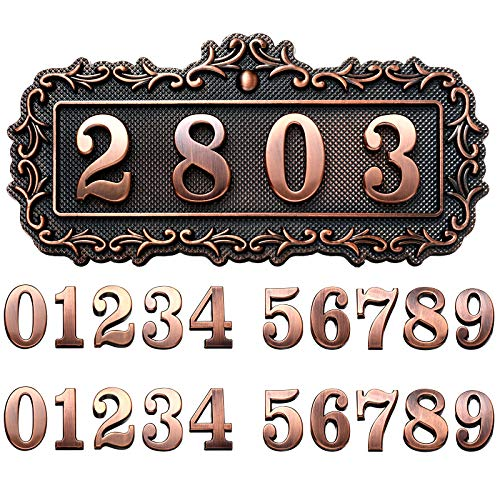 House Address Plaques Plastic Address Sign Mailbox Number Plaque 0-9 European-style Retro Doorplate Address Signs Decorative Wall Plaque for House Home Hotel Office Garden (Chic Style)