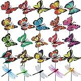 JaneYi Garten Ornamente Bunt Deko Schmetterlinge Garten 20 Stück Schmetterling 10 Stück Libellen mit 25cm Metallstab Gartenstecker Gartendeko Schmetterling für Outdoor Hof Terrasse Party