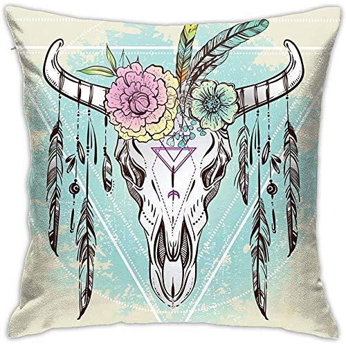 Bull Skull Kussensloop met bloemen en veren, onzichtbare ritssluiting, voor sofa