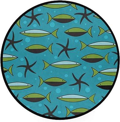 Fish and Starfish Pattern On Blue Area Rug Round Non-Slip Carpet Living Room Bedroom Bath Floor Mat Home Decor (3 Feet Round)