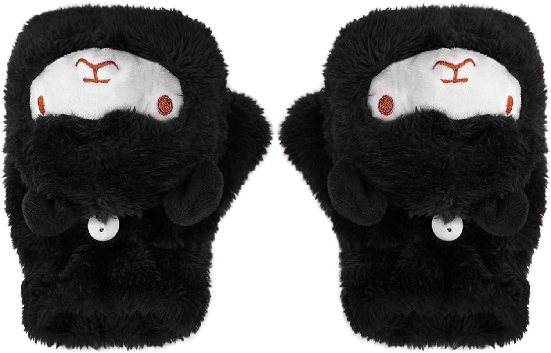 Kids Winter Warm Fingerless Gloves Plush Adults Half Finger Gloves Flip Mittens
