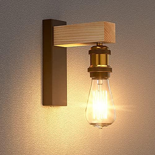 Lámpara de Pared,SAINUO E27 Lámpara de Vintage Industrial de Pared,aplique pared madera,foco de pared retro, Lámpara de Pared Creativo Iluminación Ajustable de Loft Bar Hotel Comedor