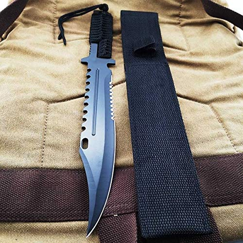"JGN Trading 13"""" Black Tactical Fixed Blade Knife Camping Hunting Hiking Fishing Cuting Survival Knives Self Defense Weapons with Nylon Sheath"