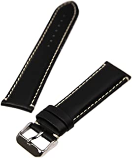 Hadley Roma MS885 22mm Watch Band Mens Black Oil Tan Leather Stitched
