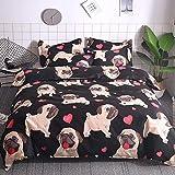 BH-JJSMGS Gedruckte Bettdecke und Kissenbezug, Bettwäsche, Bulldogge Hundeabdeckung, Kissenbezug, Bulldogge 200x200