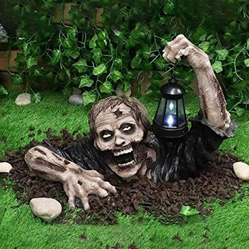 Halloween Zombie Lantern Decorations, Zombie Holding Lantern Solar Powered Garden Light Lamp,...