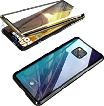 Compatible with Huawei Mate 20 Pro Case, Jonwelsy 360 Degree Front and Back Transparent Tempered Glass Cover, Strong Magnetic Adsorption Technology Metal Bumper (Gold/Black)