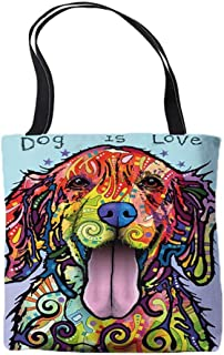 Goldie Golden Retriever Design Tote Bags - Dean Russo Art