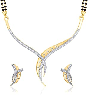 V. K. Jewels Sterling Gold and Rhodium Plated Alloy Mangalsutra Set with Earrings for Women Made with Cubic Zirconia-MP1193G [VKMP1193G]