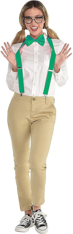 Adult Nerd Accessory Set Glasses/Suspenders/Bow Tie 3 pc