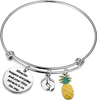 UJIMS IVF Mommy Gift IVF Infertility Bracelet with Footprint Charm Miracles Happen Everyday Infertility Mom Jewelry IVF En...