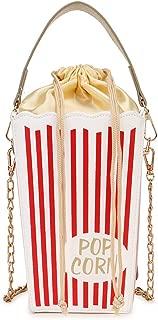 Fashion Red Stripe Cute Popcorn Crossbody Shoulder Bag Women Phone Novelty Handbag Chain Purse Casual Bucket Tote Bag