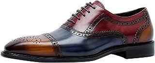 Zapatos de Vestir Tricolor Oxford Hombre con Cordones Cap Toe Brogue Formal Casual Cuero Derby Azul Marrón