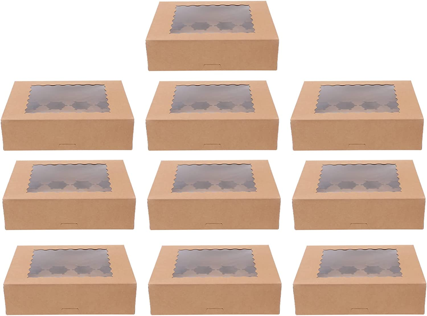 Luxshiny Cheap sale 10Pcs Bakery Spring new work one after another Cupcake Box Transparent Window Muf Display