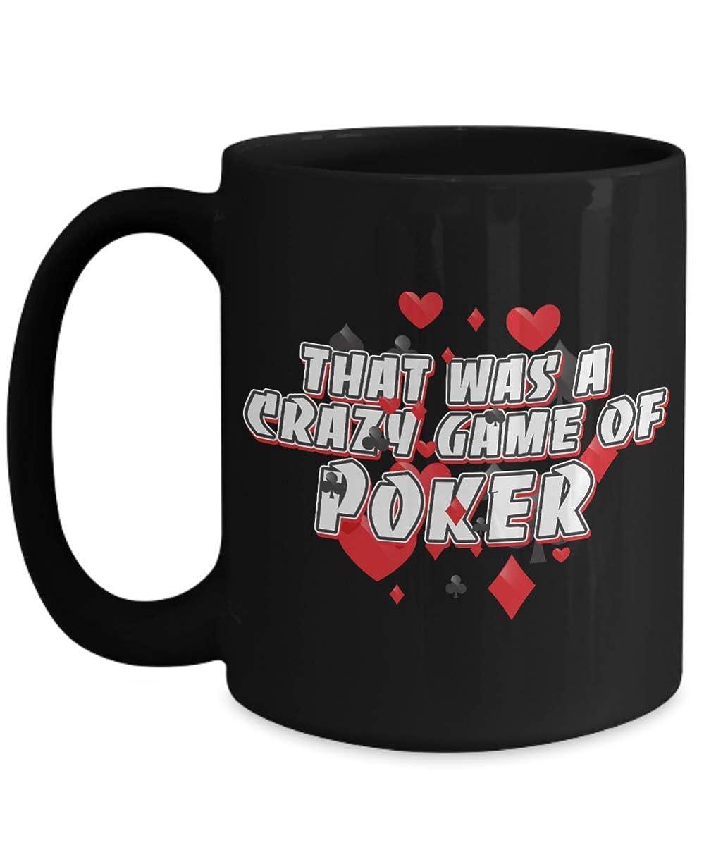 CRAZY GAME OF POKER Black coffee mug great gift