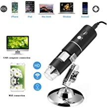 Wireless Digital Microscope, 1080P 50X to 1000X Magnification Microscopy with 8 LED, USB Handheld Camera with Light Compatible for iPhone Android, iPad Windows Mac