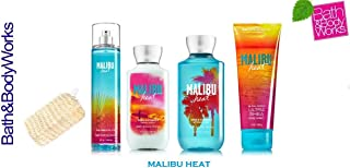 Bath & Body Works Malibu Heat Gift Set - Body Lotion - Body Cream - Fragrance Mist & Shower Gel + FREE Sisal Sponge