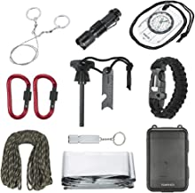 TOMSHOO 11 in 1 Outdoor Survival Kit Camping Survival Set Contains Paracord Bracelet Compass Carabiners Whistle Emergency Blanket Flintstone With Scraper Wire Saw Torch Plastic For Adult Children