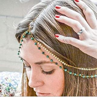Catery Turquoise Headbands Jewelry Sequins Small Coins Head Chain Headpiece Fashion Hair Accessories for Women and Girls