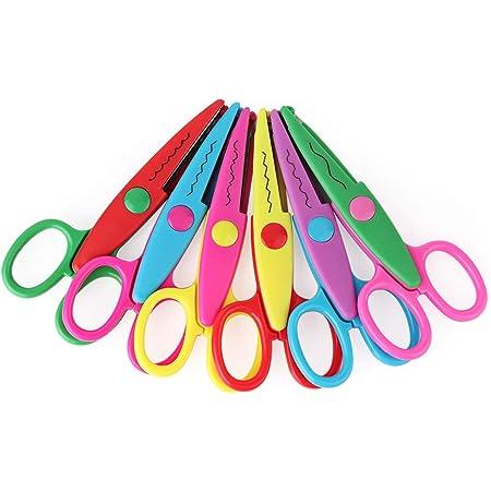 Coupe-papier Ciseaux, 6 bordures colorées Set de ciseaux pour les enseignants, les élèves, les photos de bricolage, le scrapbooking décoratif, l'album, la sécurité des enfants Design Art Ciseaux