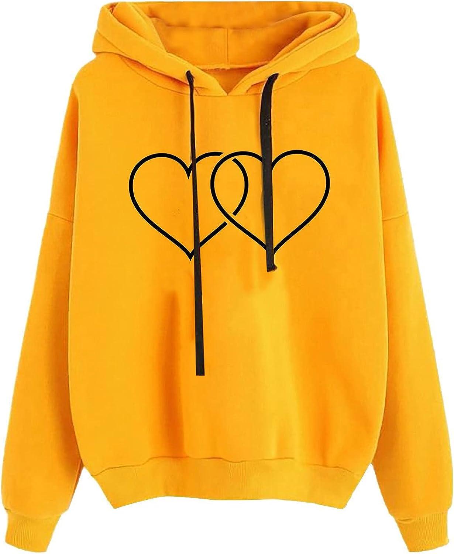 Cute Graphic Hoodies Sweatshirt for Girls Women Double Heart Print Casual Long Sleeve Hooded Blouse Tops