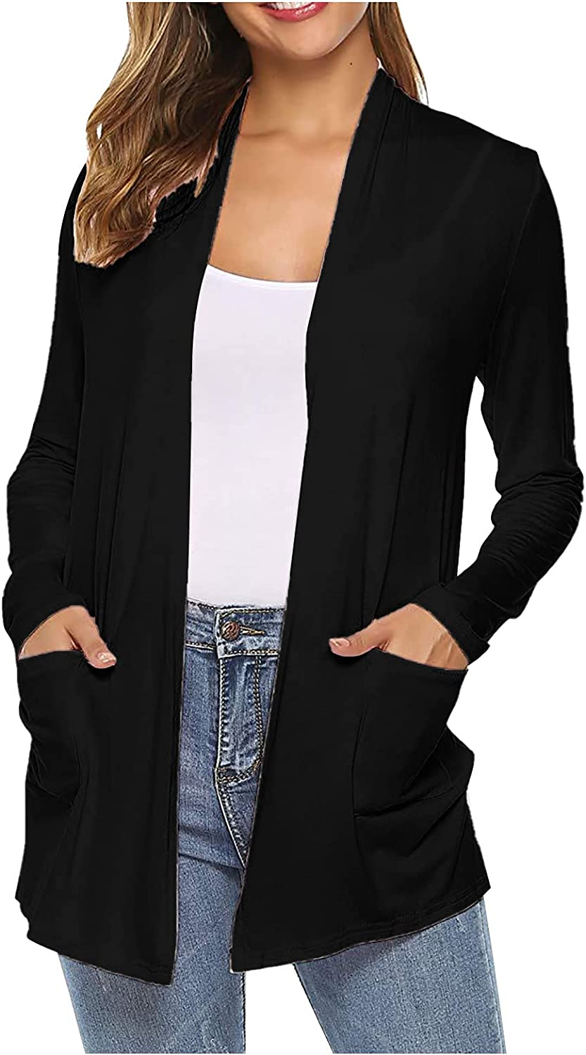 Women'S Casual Open Front Solid Color Long-Sleeved Knitted Cardigan Soft And Comfortable Jacket Outer Tyre