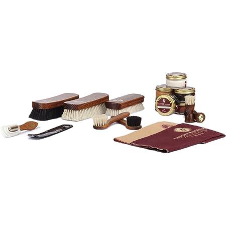 Langer & Messmer set de 17 pièces pour l´entretien e le soin professionnel de vos chaussures contenant crèmes de cirage et brosses à chaussures haut de gamme en crin de cheval et poils de chèvre
