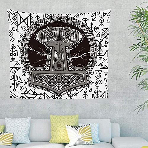 QIAO Viking Runes Hammer Tapestry Tapiz para Colgar en la Pared Tapiz para Colgar en la Pared Hermosa decoraci¨n de Pared para el Dormitorio Sala de Estar Playa Manta Estera de Yoga