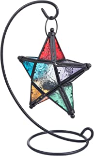 BESPORTBLE Moroccan Candle Lantern Stand Glass Star Candle Holder Retro Vela Lanterns Metal Glass Candlestick Lantern for ...