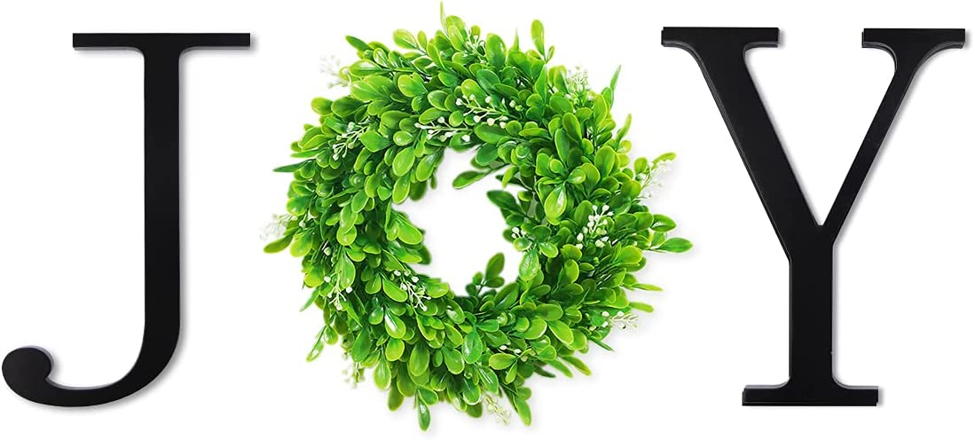 VIEFIN 12inch Wooden Joy Letters for Wall Decor,Wall Hanging Joy Sign with Green Wreath,Wooden Joy Signs for Home Decor,Farmhouse Wall Decor for Living Room,Bedroom, Kitchen,Enterway,Joy,Black