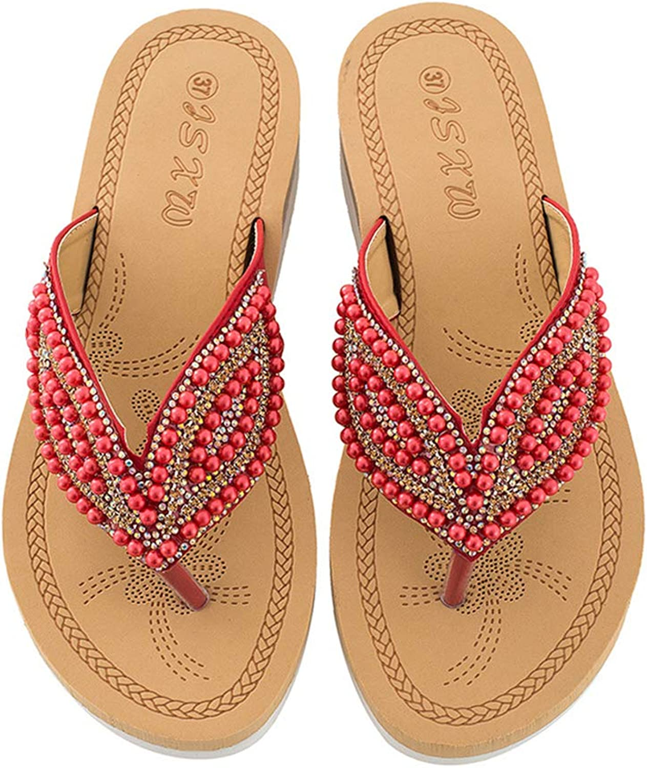 Navoku Beach Walking Beaded Flat Flip Flops Womens Thong Sandals
