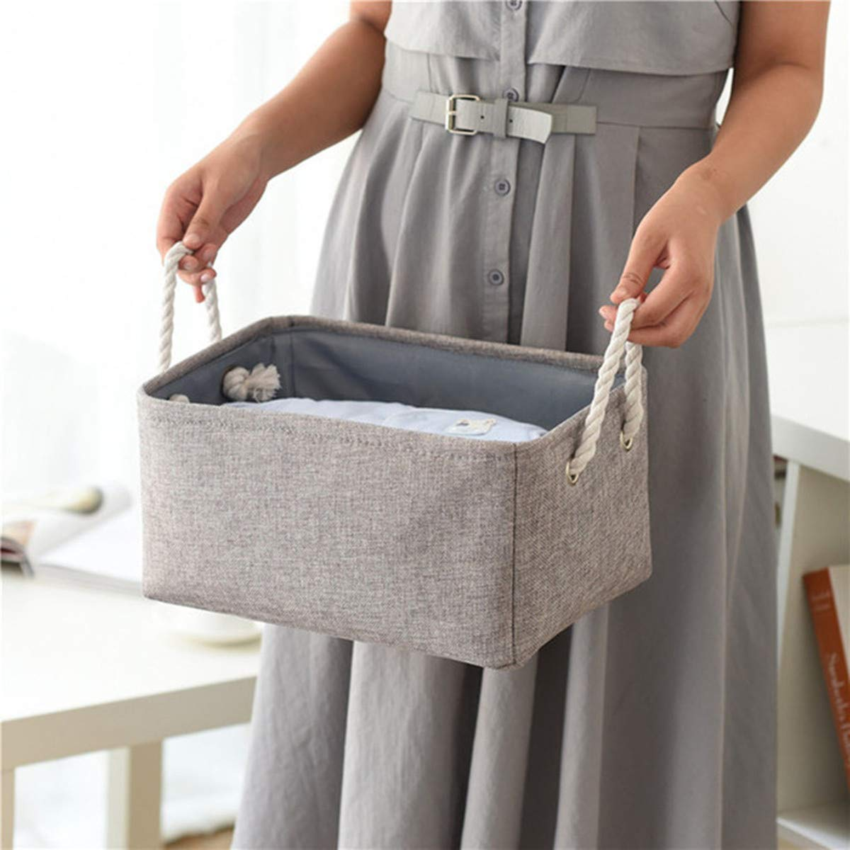 Basket Rope Storage Baskets, Flax Organizer Waterproof with Handles 12 x 8 x 5 Inches, Basket for Baby Blanket, Kids Toy Nursery Laundry Basket (Gray)