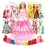 MIMAX Doll Clothes and Accessories, Baby Doll Clothes Dresses Shoes Sets Include 10 Pack Doll Party Outfits 1 Sewing Dress & 10 Pairs Doll Shoes for Girl's Birthday by Seven Color St.