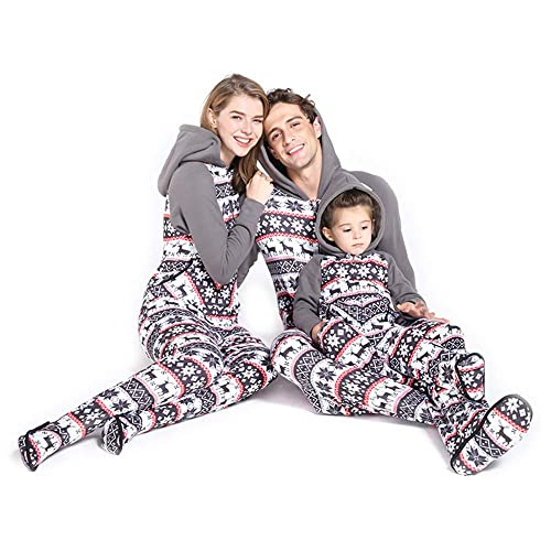 PatPat Matching Family Footed Pajamas Hoodie Sleeper Festival Snowflake  Plush Cozy Warm Onesie Grey bc29473cc