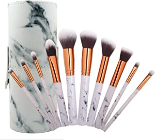 COSHINE 10pcs Pro Marble Makeup Brush Set with Marble Brusher Holder, for Loose Powder, Contour, Shade, Highlighter, Eyeshadow and Foundation