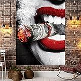 XGguo Impresión Digital de Tapiz de cigarro de Labios Rojos Femeninos