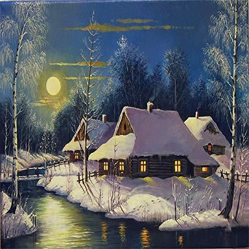 DSJDSFH DIY digitale olieverfschilderij landschap schilderijen slaapkamer decoratie woonkamer kantoor thuis wanddecoratie 40 x 50 cm 40x50cm Ville Animée