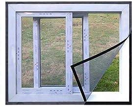 BASHI Praktisch insectengaas met zelfklevende tape, semi-transparant raamscherm, grijs raamgaas voor raam zonder boren
