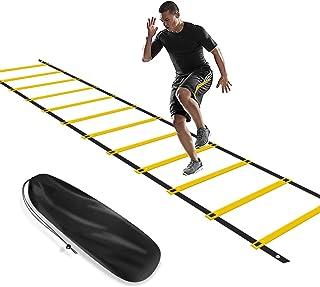 KIKILIVE مجموعه آموزش سرعت چابکی ، کیت تجهیزات ورزشی برای فوتبال / فوتبال - نردبان چابکی و مخروط ها ، چتر نجات در حال اجرا ، مخروط های ورزشی ، گیره های فلزی