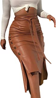 Women Sexy Faux Leather Solid Colour Midi Skirt Pu Leather Slim Fit Button Trim Spilt Pencil Knee Length Pencil Skirt with...