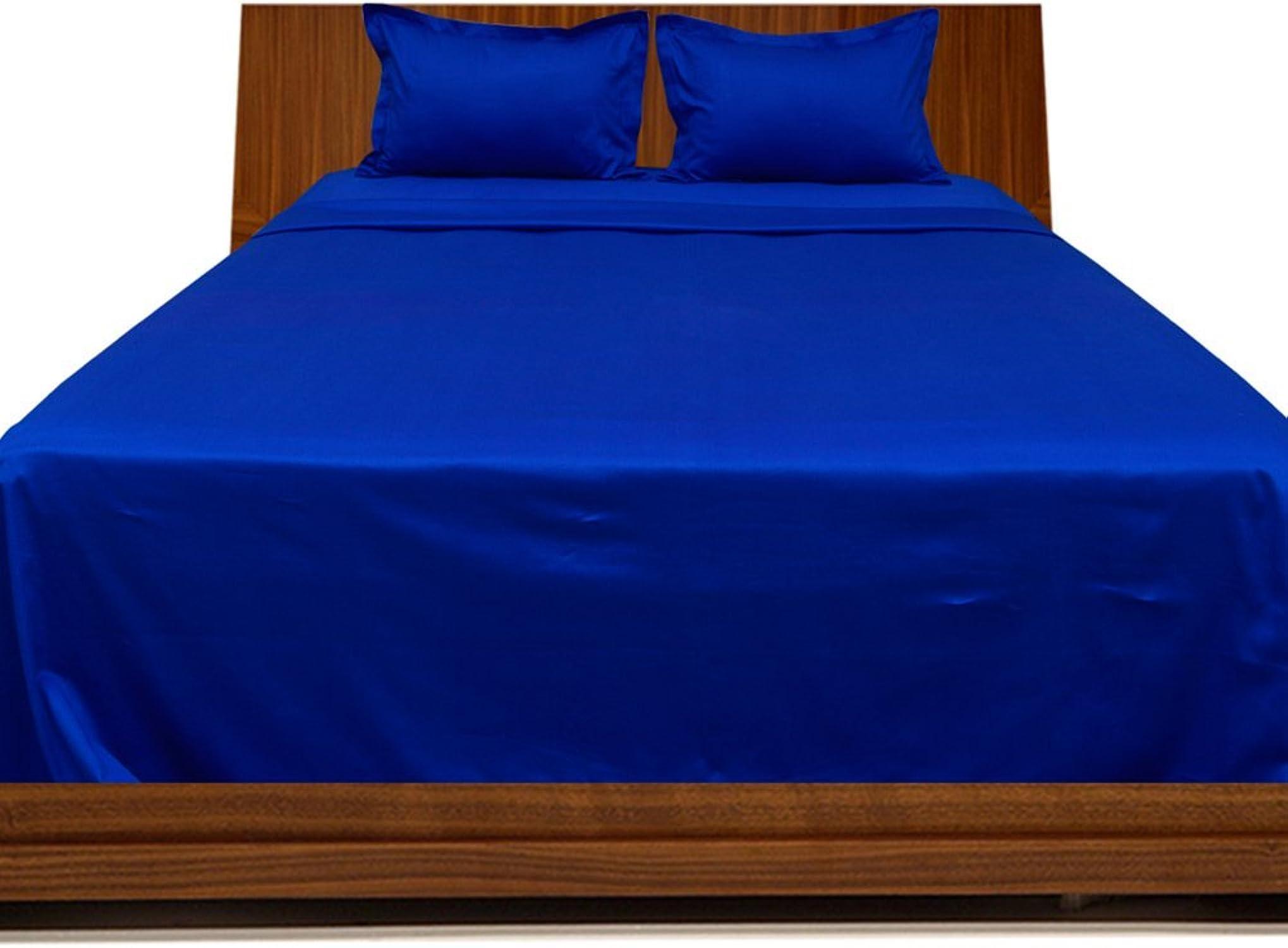Laxlinens 300fils en coton égypcravaten 4pièces pour lit (+ 61cm) poche profonde suppléHommestaire UK simple, bleu royal bleu égypcravaten massif