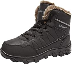 $56 » Dainzuy Snow Boots for Men Waterproof Lace Up Fur Lined Ankle Booties Non Slip Outdoor Warm Shoes Hiking Boots