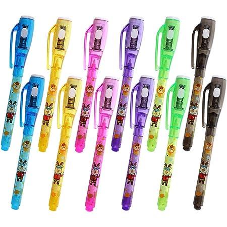 Penne a inchiostro invisibili, penna spia da 12 pezzi con a raggi UV per messaggio segreto, riempitivi per sacchetti a mano per feste di compleanno per bambini e regali di Natale