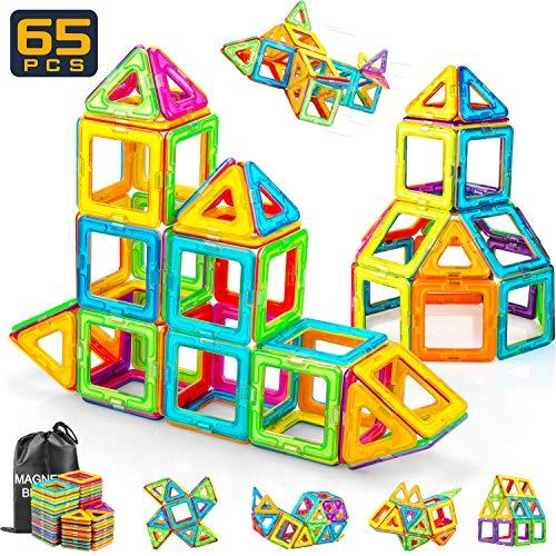 idoot Magnetic Building Blocks 102PCS Magnet Building Tiles Clear ...